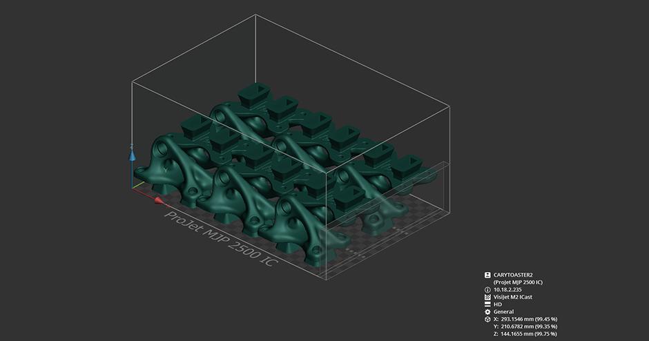 3D Systems ProJet MJP 2500 IC 3D Sprint Bracket Build Image
