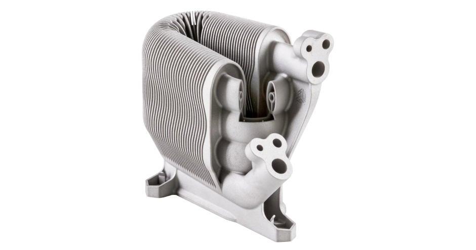 A Lamellar heat exchanger 3d printed in Laserform 316L (B) stainless steel